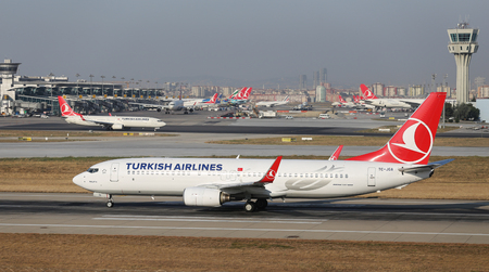 boing: ISTANBUL, TURKEY - JULY 09, 2015: Turkish Airlines Boeing 737-8F2 (CN 29785544) takes off from Istanbul Ataturk Airport. THY is the flag carrier of Turkey with 284 fleet size and 275 destinations Editorial