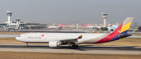 ataturk: ISTANBUL, TURKEY - JULY 09, 2015: Asiana Airlines Airbus A330-323 (CN 708) takes off from Istanbul Ataturk Airport. Asiana airlines with 85 fleet size and 108 destinations