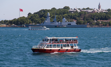 seaway: ISTANBUL, TURKEY - JULT 12, 2015: Tour boat in Istanbul city. Bosphorus tour is one of the most important  destination in Istanbul City