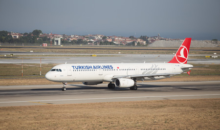 tk: ISTANBUL, TURKEY - JULY 09, 2015: Turkish Airlines Airbus A321-231 (CN 4788) takes off from Istanbul Ataturk Airport. THY is the flag carrier of Turkey with 284 fleet size and 275 destinations Editorial