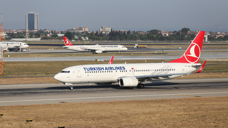 thy: ISTANBUL, TURKEY - JULY 09, 2015: Turkish Airlines Boeing 737-8F2 (CN 420004336) takes off from Istanbul Ataturk Airport. THY is the flag carrier of Turkey with 284 fleet size and 275 destinations