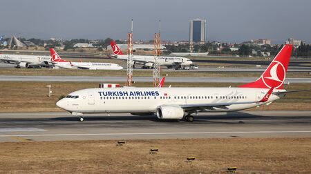 tk: ISTANBUL, TURKEY - JULY 09, 2015: Turkish Airlines Boeing 737-9F2 (CN 409824098) takes off from Istanbul Ataturk Airport. THY is the flag carrier of Turkey with 284 fleet size and 275 destinations Editorial