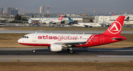 ataturk: ISTANBUL, TURKEY - JULY 09, 2015: AtlasGlobal Airline Airbus A319-112 (CN 1124) takes off from Istanbul Ataturk Airport. AtlasGlobal has 18 fleet size and 17 destinations