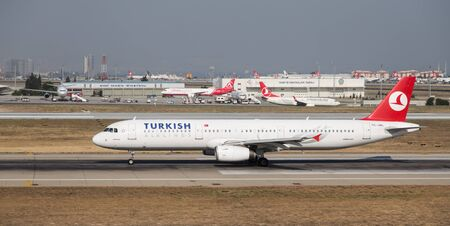 thy: ISTANBUL, TURKEY - JULY 09, 2015: Turkish Airlines Airbus A321-231 (CN 3382) takes off from Istanbul Ataturk Airport. THY is the flag carrier of Turkey with 284 fleet size and 275 destinations