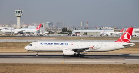 thy: ISTANBUL, TURKEY - JULY 09, 2015: Turkish Airlines Airbus A321-231 (CN 5154) takes off from Istanbul Ataturk Airport. THY is the flag carrier of Turkey with 284 fleet size and 275 destinations