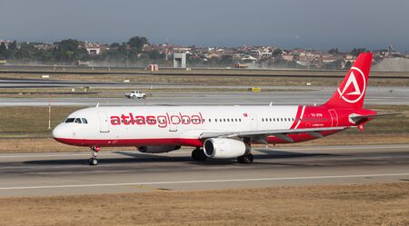 ataturk: ISTANBUL, TURKEY - JULY 09, 2015: AtlasGlobal Airline Airbus A321-131 (CN 614) takes off from Istanbul Ataturk Airport. AtlasGlobal has 18 fleet size and 17 destinations Editorial