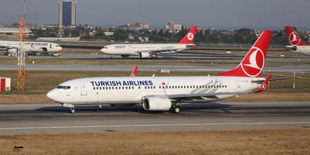 thy: ISTANBUL, TURKEY - JULY 09, 2015: Turkish Airlines Boeing 737-8F2 (CN 344131972) takes off from Istanbul Ataturk Airport. THY is the flag carrier of Turkey with 284 fleet size and 275 destinations