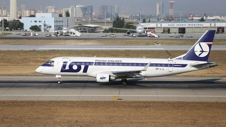 ISTANBUL, TURKEY - JULY 09, 2015: LOT Polish Airlines Embraer 170 175 MSN 306 take off from Istanbul Ataturk Airport. LOT, is the flag carrier of Poland with 45 fleet size and 60 destinations