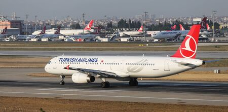thy: ISTANBUL, TURKEY - JULY 09, 2015: Turkish Airlines Airbus A321-231 (CN 3429) takes off from Istanbul Ataturk Airport. THY is the flag carrier of Turkey with 284 fleet size and 275 destinations