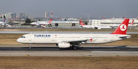 thy: ISTANBUL, TURKEY - JULY 09, 2015: Turkish Airlines Airbus A321-232 (CN 3738) takes off from Istanbul Ataturk Airport. THY is the flag carrier of Turkey with 284 fleet size and 275 destinations