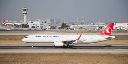 thy: ISTANBUL, TURKEY - JULY 09, 2015: Turkish Airlines Airbus A321-231 (CN 5450) takes off from Istanbul Ataturk Airport. THY is the flag carrier of Turkey with 284 fleet size and 275 destinations