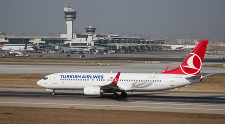 thy: ISTANBUL, TURKEY - JULY 09, 2015: Turkish Airlines Boeing 737-8F2 (CN 344111944) takes off from Istanbul Ataturk Airport. THY is the flag carrier of Turkey with 284 fleet size and 275 destinations
