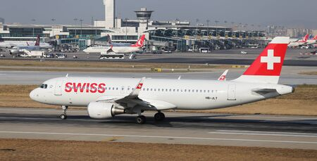 ataturk: ISTANBUL, TURKEY - JULY 09, 2015: Swiss Global Air Lines Airbus A320-214 (CN 5518) takes off from Istanbul Ataturk Airport. Swiss has 18 fleet size and 36 destinations