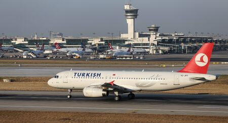 tk: ISTANBUL, TURKEY - JULY 09, 2015: Turkish Airlines Airbus A320-232 (CN 3719) takes off from Istanbul Ataturk Airport. THY is the flag carrier of Turkey with 284 fleet size and 275 destinations