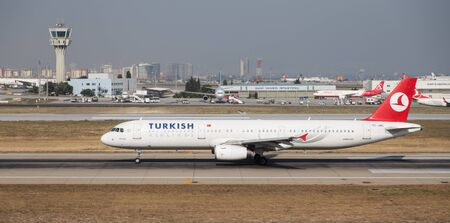 tk: ISTANBUL, TURKEY - JULY 09, 2015: Turkish Airlines Airbus A321-231 (CN 3382) takes off from Istanbul Ataturk Airport. THY is the flag carrier of Turkey with 284 fleet size and 275 destinations