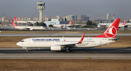thy: ISTANBUL, TURKEY - JULY 09, 2015: Turkish Airlines Boeing 737-8F2 (CN 29788791) takes off from Istanbul Ataturk Airport. THY is the flag carrier of Turkey with 284 fleet size and 275 destinations