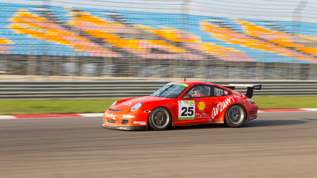 ISTANBUL, TURKEY - NOVEMBER 02, 2014: Galip Atar drives Porsche 997 GT 3 of Ulku Motorsport Team during Turkish Touring Car Championship in Istanbul Park Circuit