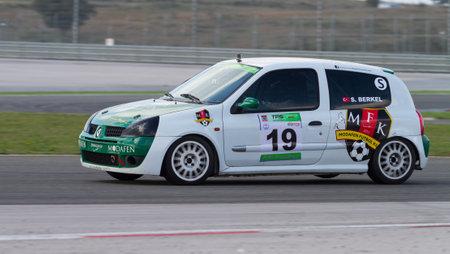 suleyman: ISTANBUL, TURKEY - NOVEMBER 02, 2014: O. Suleyman Berkel drives Renault Clio during Turkish Touring Car Championship in Istanbul Park Circuit Editorial