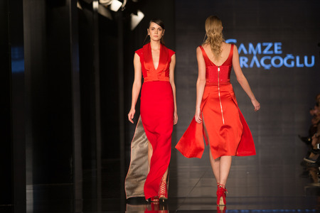 collection: ISTANBUL, TURKEY - NOVEMBER 22, 2014: A model showcases one of the latest creations by Gamze Saracoglu in Fashionist fashion fair