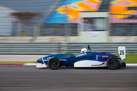 alfa: ISTANBUL, TURKEY - NOVEMBER 02, 2014: D. Kobulia drives Formula Alfa Car in Istanbul Park Circuit