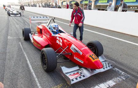 alfa: ISTANBUL, TURKEY - NOVEMBER 02, 2014: M. Meladze drives Formula Alfa Car in Istanbul Park Circuit Editorial