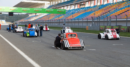 legends: ISTANBUL, TURKEY - NOVEMBER 02, 2014: Legends cars in start of race in Istanbul Park Circuit