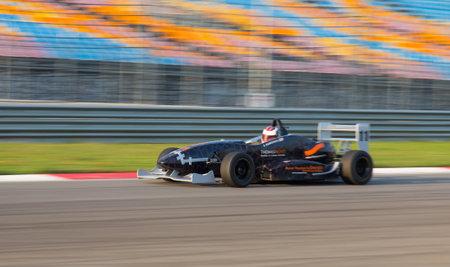 alfa: ISTANBUL, TURKEY - NOVEMBER 02, 2014: D. Ramishvili drives Formula Alfa Car in Istanbul Park Circuit