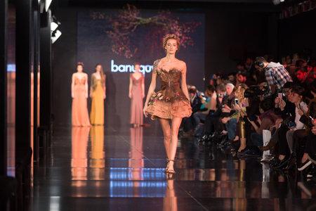 fashion model catwalk: ISTANBUL, TURKEY - NOVEMBER 22, 2014: A model showcases one of the latest creations by Banu Guven in Fashionist fashion fair Editorial