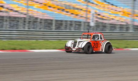 legends: ISTANBUL, TURKEY - NOVEMBER 02, 2014: D. Kajaia drives a Legends Car in Istanbul Park Circuit