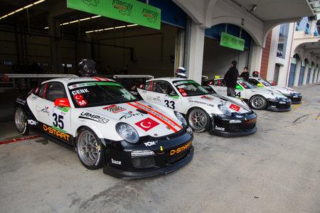 motorsports: ISTANBUL, TURKEY - NOVEMBER 02, 2014: Go Motorsports team cars in Pit lane during Turkish Touring Car Championship in Istanbul Park Circuit