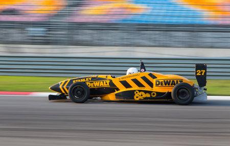 alfa: ISTANBUL, TURKEY - NOVEMBER 02, 2014: D. Menteshashvili drives Formula Alfa Car in Istanbul Park Circuit