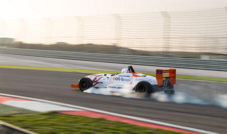 alfa: ISTANBUL, TURKEY - NOVEMBER 02, 2014: Cankat Nurmoglu drives Formula Alfa Car in Istanbul Park Circuit