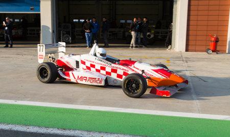 alfa: ISTANBUL, TURKEY - NOVEMBER 02, 2014: I. Chkheidze drives Formula Alfa Car in Istanbul Park Circuit