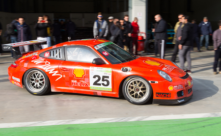 atar: ISTANBUL, TURKEY - NOVEMBER 02, 2014: Galip Atar drives Porsche GT 3 of Ulku Motorsport Team during Turkish Touring Car Championship in Istanbul Park Circuit