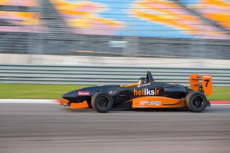alfa: ISTANBUL, TURKEY - NOVEMBER 02, 2014: Z. Dudauri drives Formula Alfa Car in Istanbul Park Circuit