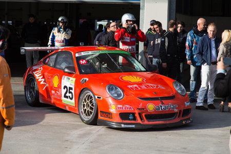 atar: ISTANBUL, TURKEY - NOVEMBER 02, 2014: Galip Atar drives Porsche GT 3 of Ulku Motorsport Team during Turkish Touring Car Championship in Istanbul Park Circuit