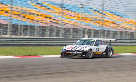 motorsports: ISTANBUL, TURKEY - NOVEMBER 02, 2014: Mustafa Yadel Oskan drives Porsche GT 3 of Go Motorsports Team during Turkish Touring Car Championship in Istanbul Park Circuit