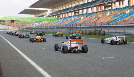 start line: ISTANBUL, TURKEY - NOVEMBER 02, 2014: Formula Alfa Cars in start line of Istanbul Park Circuit