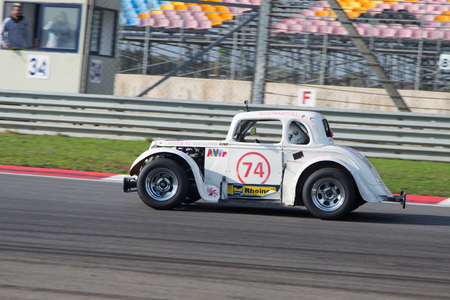 legends: ISTANBUL, TURKEY - NOVEMBER 02, 2014: Bidzinashvili drives a Legends Car in Istanbul Park Circuit