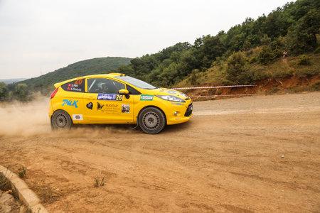 deniz: ISTANBUL, TURKEY - JULY 25, 2015: Serpil Pak drives Ford Fiesta R2 in Bosphorus Rally 2015, Deniz stage Editorial