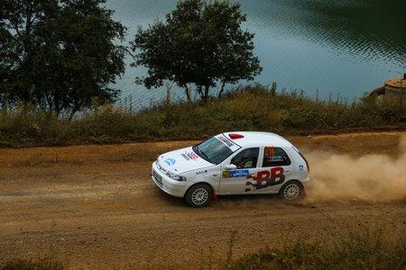 deniz: ISTANBUL, TURKEY - JULY 25, 2015: Tarik Gokcen drives Fiat Palio in Bosphorus Rally 2015, Deniz stage