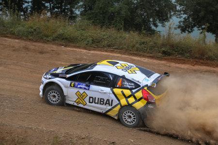 deniz: ISTANBUL, TURKEY - JULY 25, 2015: Rashid Al Ketbi drives Ford Fiesta R5 of X Dubai World Rally Team in Bosphorus Rally 2015, Deniz stage Editorial