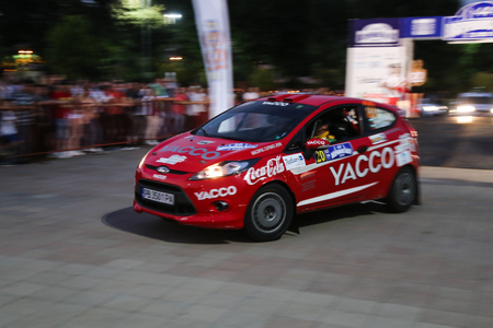 ralli: ISTANBUL, TURKEY - JULY 24, 2015: Georgi Geradzhiev with Ford Fiesta R2 of Automobile Sport Clup Plovdiv Team in ceremonial start of Bosphorus Rally 2015