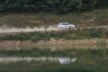 deniz: ISTANBUL, TURKEY - JULY 25, 2015: Can Altinok drives Ford Fiesta ST in Bosphorus Rally 2015, Deniz stage Editorial