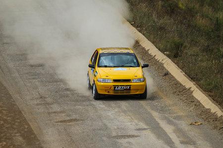 deniz: ISTANBUL, TURKEY - JULY 25, 2015: Demir Uyar drives Fiat Palio in Bosphorus Rally 2015, Deniz stage Editorial