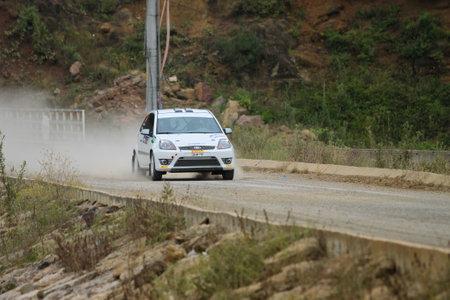 ISTANBUL, TURKEY - JULY 25, 2015: Can Altinok drives Ford Fiesta ST in Bosphorus Rally 2015, Deniz stage Editorial