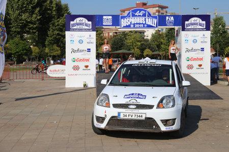 ralli: ISTANBUL, TURKEY - JULY 26, 2015: Cem Alakoc with Ford Fiesta ST of Delta Sport Team in Podium Ceremony of Bosphorus Rally 2015
