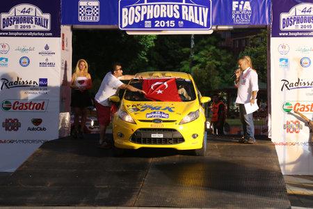 ralli: ISTANBUL, TURKEY - JULY 24, 2015: Serpil Pak with Ford Fiesta R2 in ceremonial start of Bosphorus Rally 2015