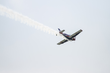 aerobatic: ISTANBUL, TURKEY - AUGUST 02, 2015: Pioneer Team performing show with Alpi Pioneer 330 Ultralight aircraft at the TATCA Airfest 2015