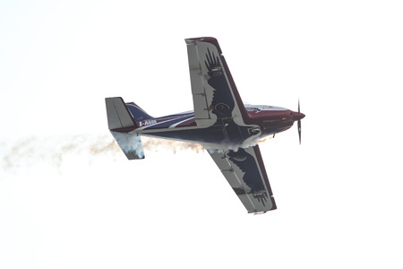 airplane ultralight: ISTANBUL, TURKEY - AUGUST 02, 2015: Pioneer Team performing show with Alpi Pioneer 330 Ultralight aircraft at the TATCA Airfest 2015